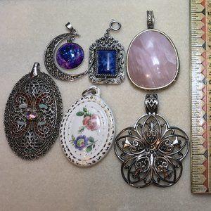 Lot of 6 Large Vintage Costume Jewelry Pendants